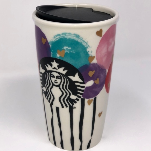 2016 Starbucks Valentine Balloon /& Gold Heart Ceramic Travel Cup 12 Oz NWT!